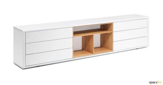 White low cabinet oak shelves