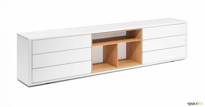 White low cabinet oak shelves