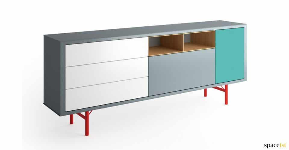 Red legged office storage cabinet