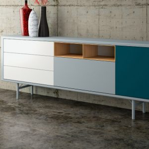 Blue wide office cabinet