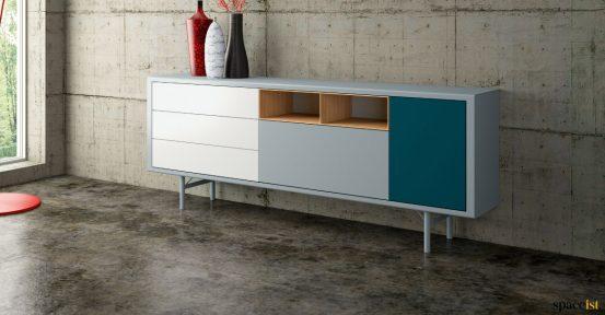 Blue wide office cabinet