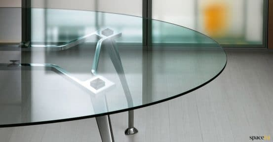 Oval glass table closeup