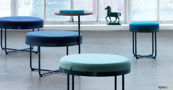 Shima stool with button seat in blue