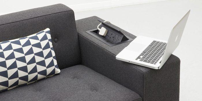 Sofa arm power socket black