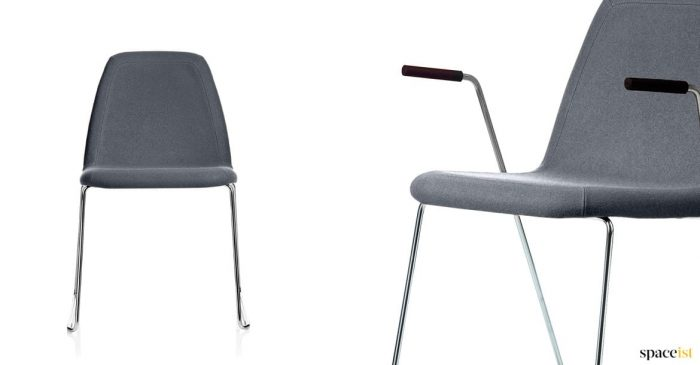 Sport grey meeting chair with a sled style base