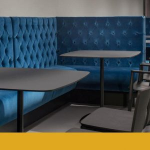 Stylus cafe table with velvet sofa bench