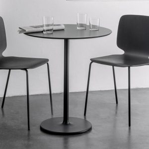 Round black Stylus table with chair