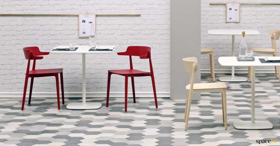White and red cafe furniture
