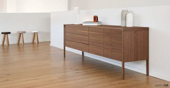 Tactile walnut meeting storage with drawers