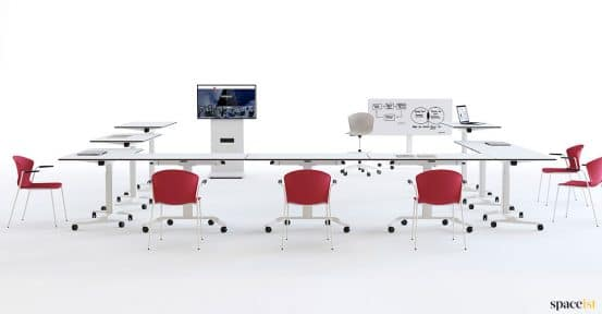 White folding meeting table