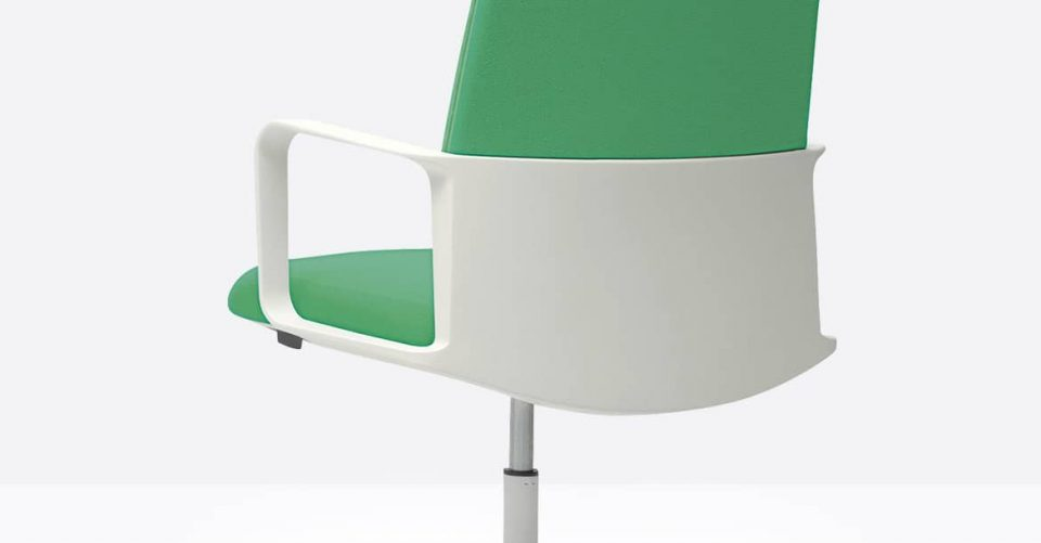 White and green desk chair