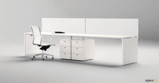 long screened office desk