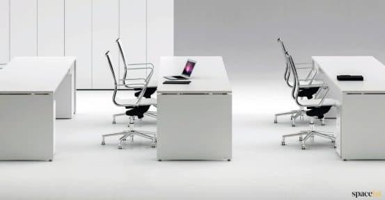 tre long white desk