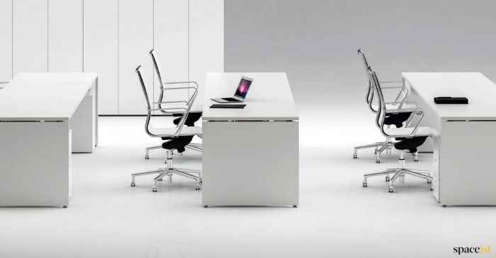tre long white desk