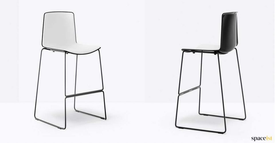 Black high stool with back