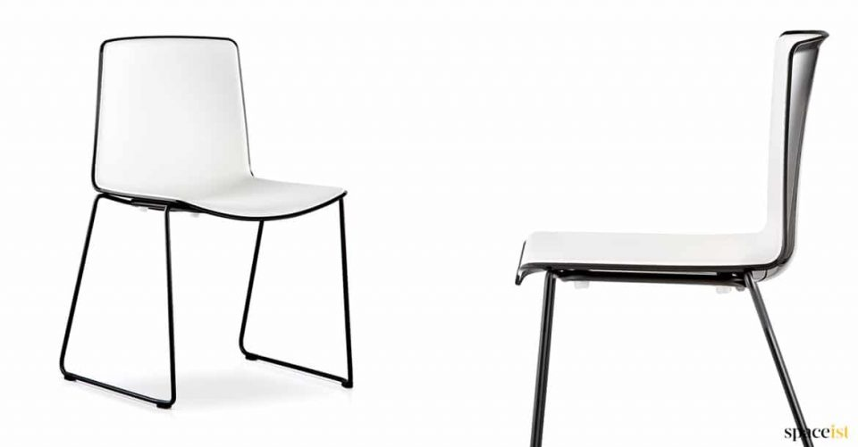 Black chair with glossy back