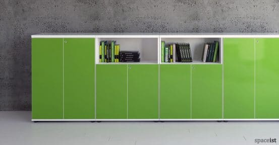 Valde low glass reception storage in green