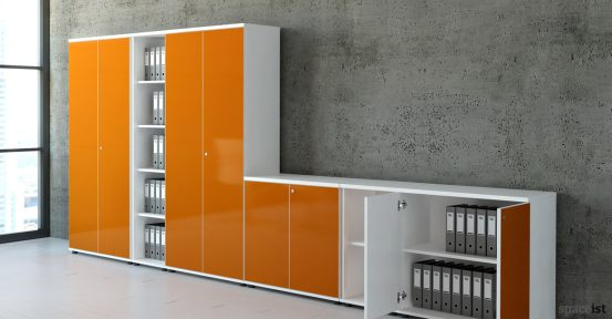 Valde orange glass office reception storage