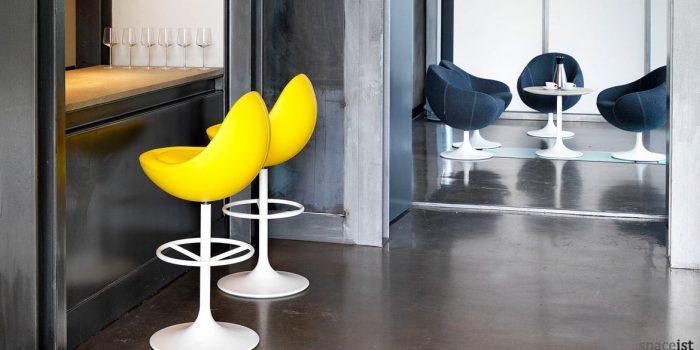 Venus bright yellow retro bar stools
