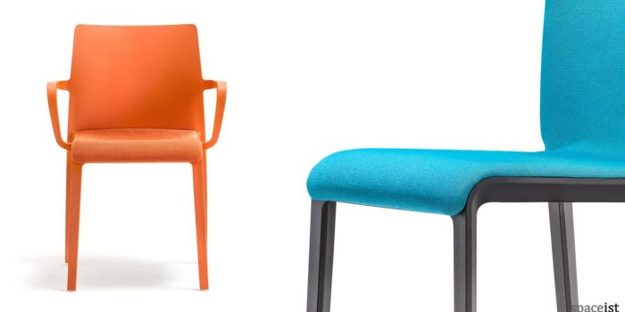 Volt high-back meeting chair with a orange frame a seat