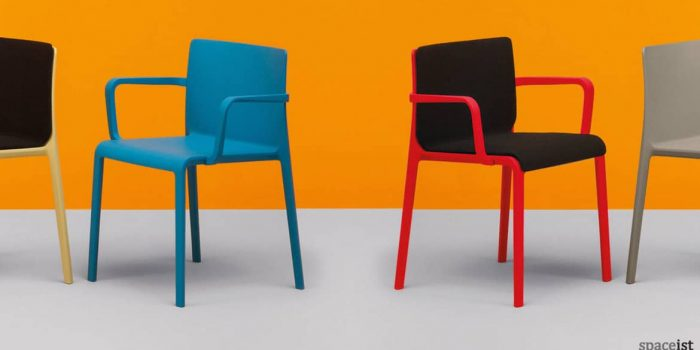 Blue and red meeting chair