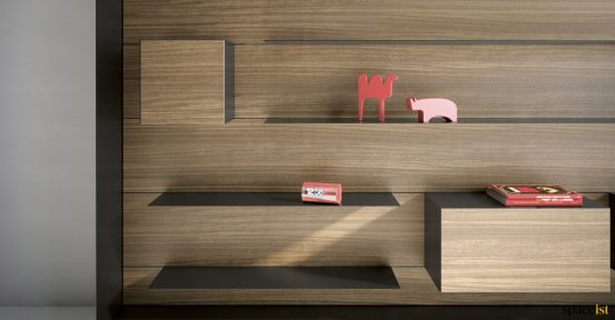 Executive wall storage walnut + black