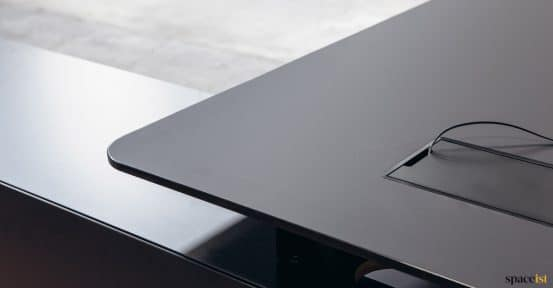 Black executive desk closeup