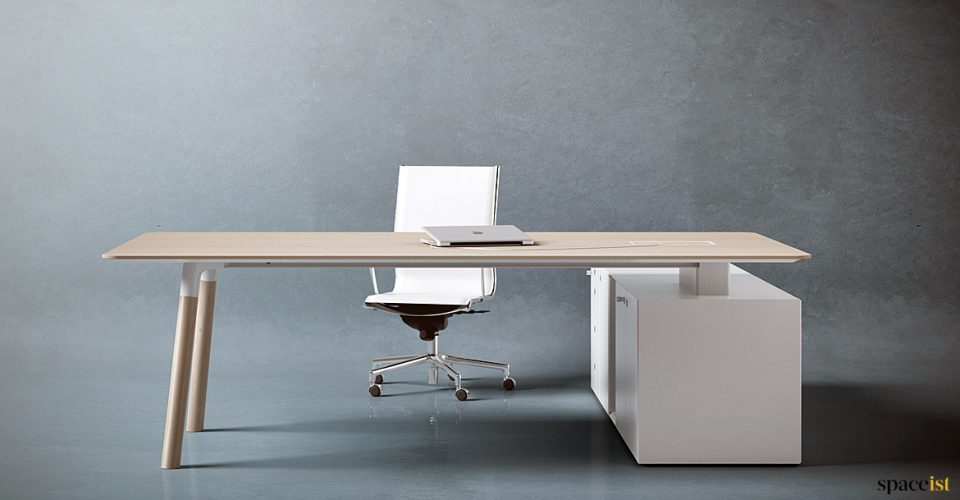 Woods large executive desk with wood legs