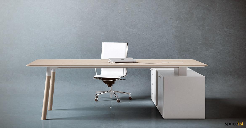 Executive Desks Woods Desk With Solid Oak Leg Spaceist