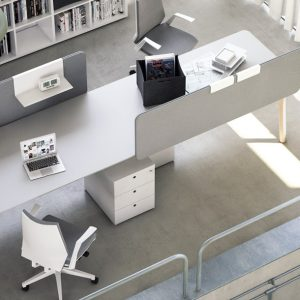 Woods two person desk in grey