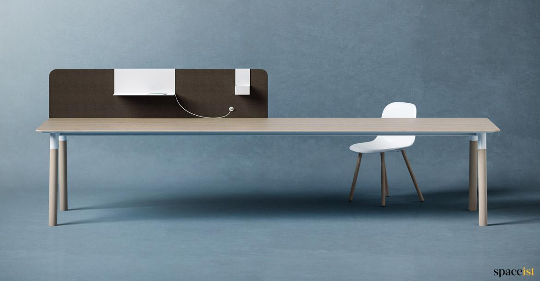 Wood desks woods very long desk spaceist office furniture for Long office desk