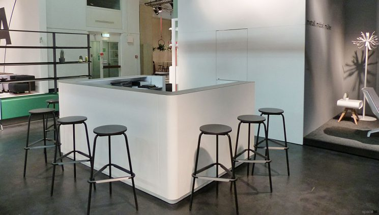 Reception desk with stools