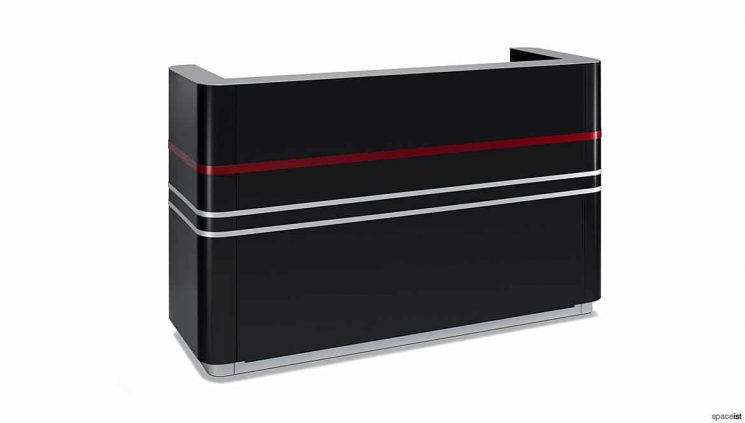 Black desk red stripe
