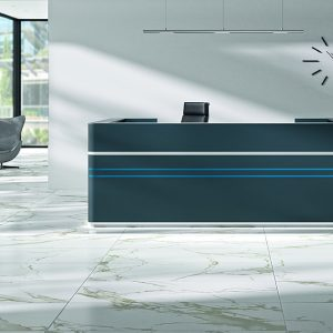 Large blue desk on marble floor