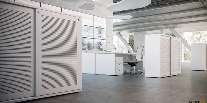 Low White Cabinet with Acoustic Sound Reducing Doors