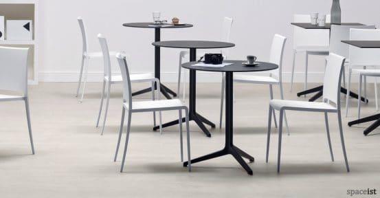 Ypsilon round folding cafe table in black