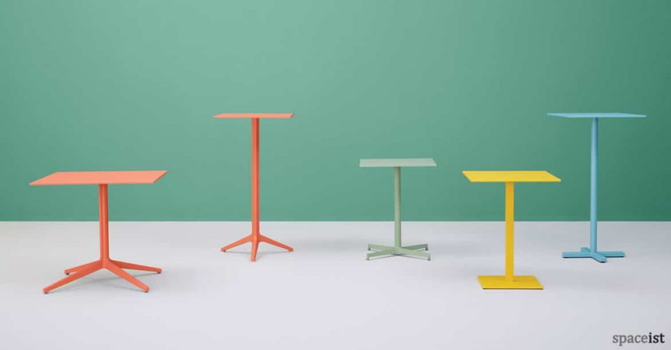 Ypsilon orange yellow green blue cafe tables