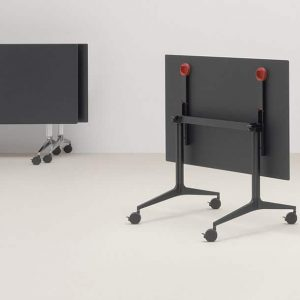 Black folding table to seat 6 people