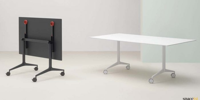 White folding table to seat 8 people