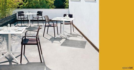 Ypsilon large white outdoor cafe table