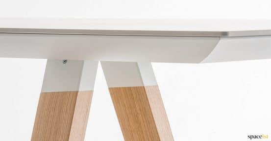 Oak wood table closeup