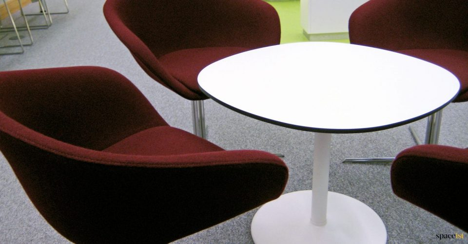 Low white staff table