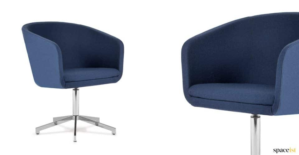 Blue meeting chair with star shpaed leg