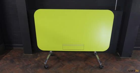 green desk with flush socket unit