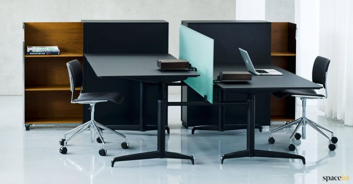 Black executive adjustable desk with screen