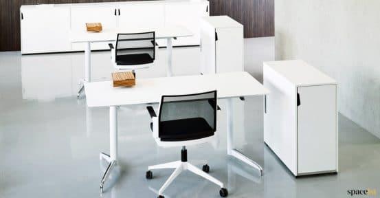 White standing desk