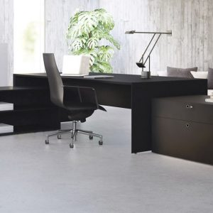 Forty5 black executive desk with matching storage