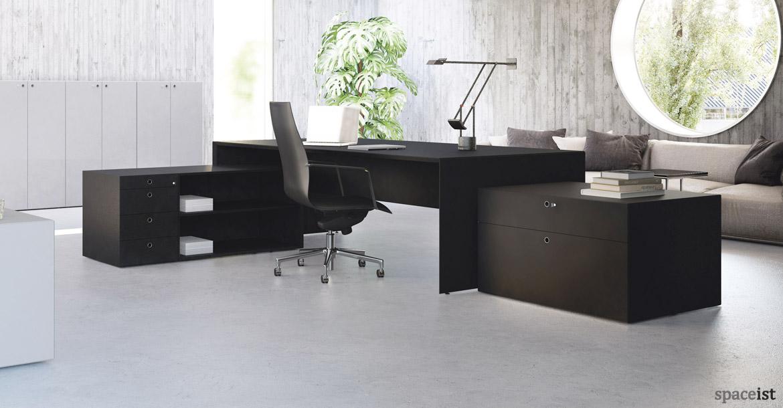 forty5 black executive desk with matching storage - Designer Executive Desk