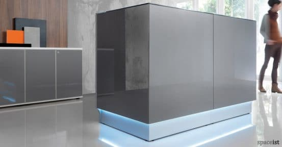 Grey glass reception storage from Valde range