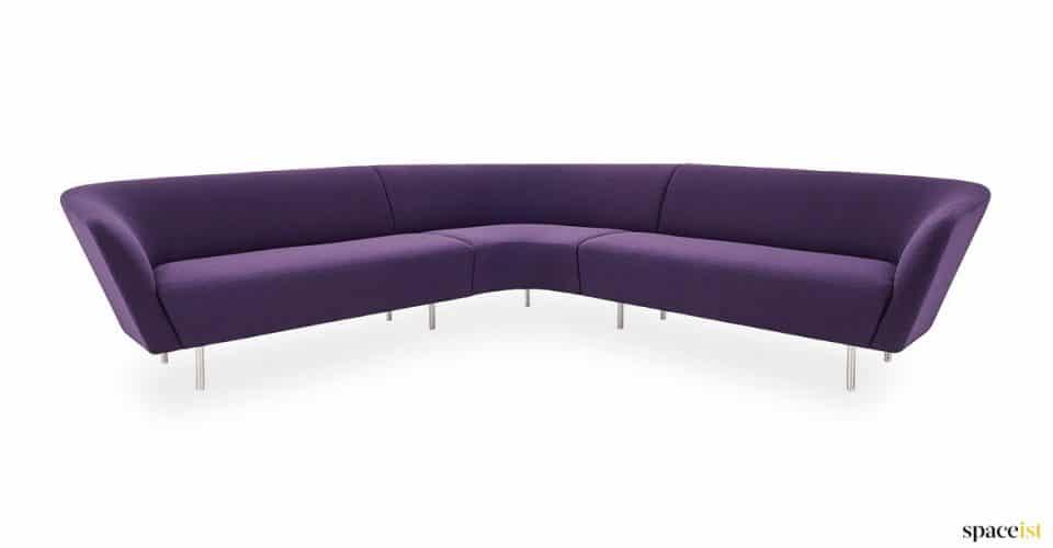 Velvet purple corner sofa